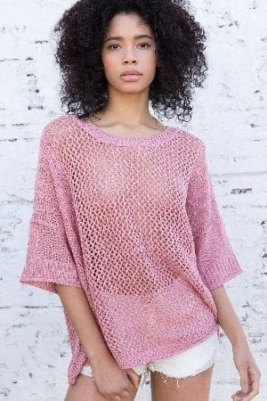 Light weight with stretchy open weave boxy fit top