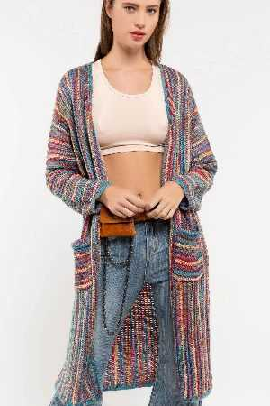 lightweight midi length sweater cardigan
