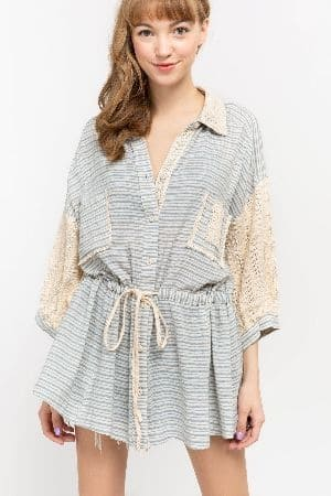 Oversized woven stripe shirt with lace contrast detail