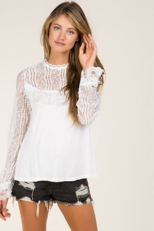 Ruffle lace top with sheer lacing