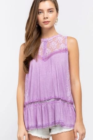 Sleeveless inset lace bodice top