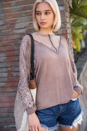 Stone wash long sleeve top with lace panel and front zipper