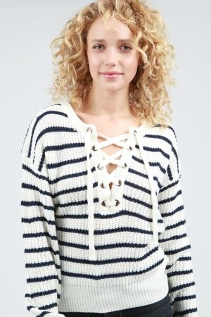 Stripped lace up front sweater