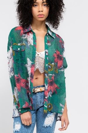 Tropical floral print woven button down shirt