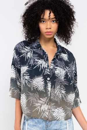 Tropical printed lightweight button down shirt