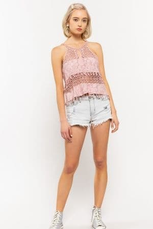 Woven panel embroidered crochet top