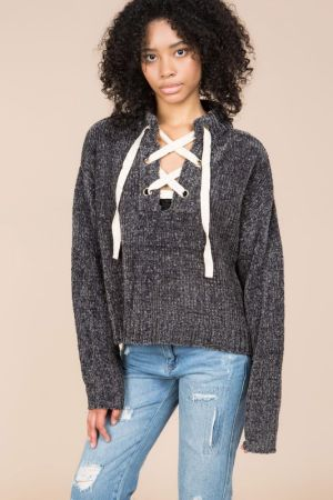 velvet chenille drop shoulder oulover sweater with lace up front