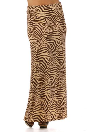 Banded animal print maxi skirt