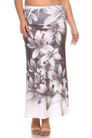 Floral print full length skirt with an a-line silhouette