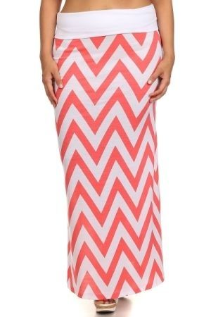 Chevron print high waisted full length maxi skirt