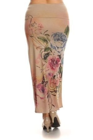 Floral printed maxi skirt in relaxed fit with banded waist