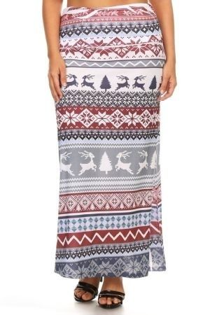 Reindeer print full length skirt