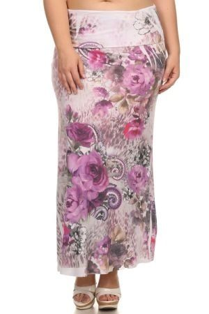 Sublimation printed floral maxi skirt