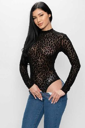 BLACK SEE THROUGH LEOPARD WOMENS BODYSUIT