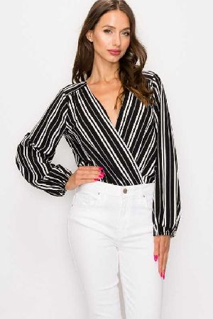 STRIPPED SURPLICE BODYSUIT