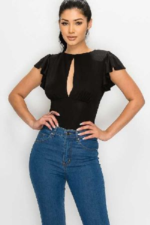 SHORT SLEEVE OPEN BACK BODYSUIT