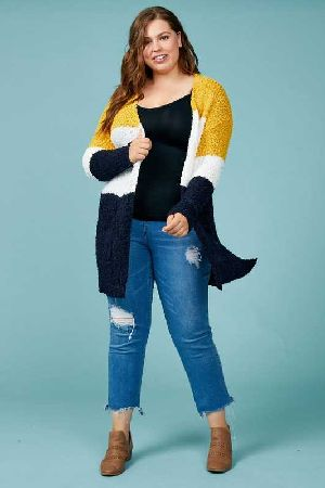 Popcorn Knit Colorblock Sweater Cardigan