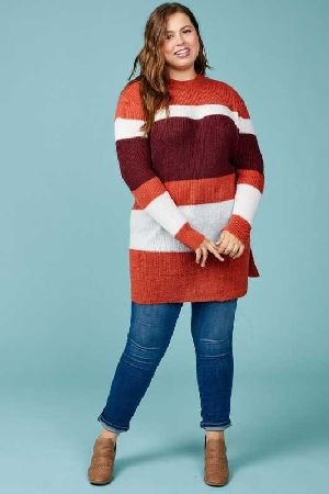 color block tunic sweater