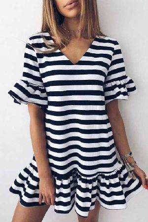 Ruffled Striped Dress
