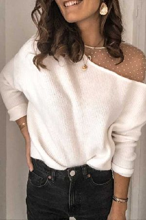 Mesh Contrast Ribbed Knit Top