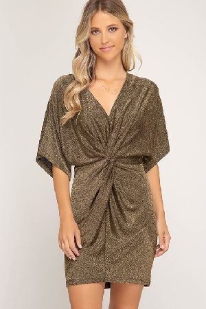 Batwing sleeve metallic knit dress