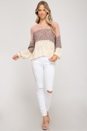 Long bubble sleeve color blocked light knit sweater