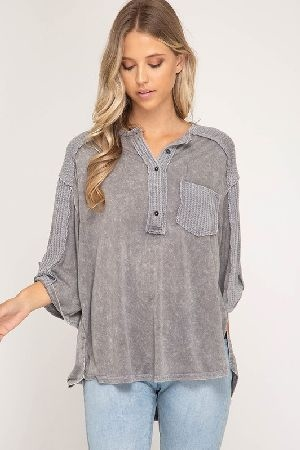 Button down washed knit top