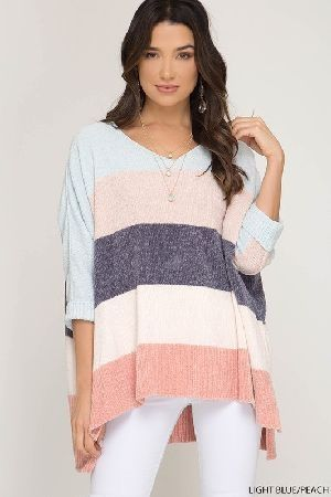 Chenille color blocked hi low sweater