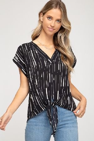 Drop shoulder woven printed v neck top