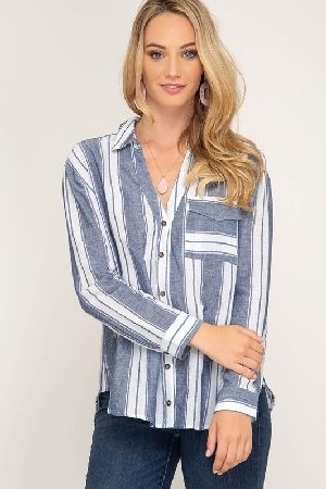 Long sleeve striped button down woven top