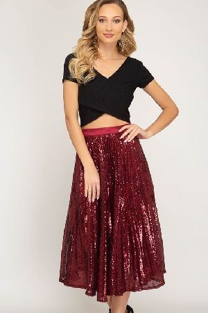 Sequin midi skirt with zipper and lining