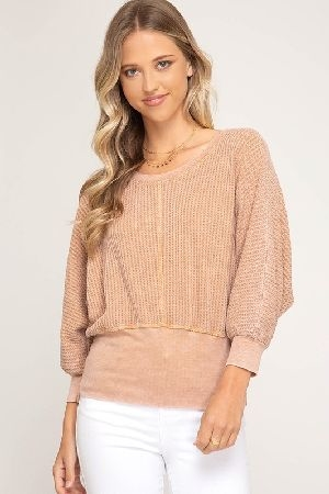 Washed knit top with waist band