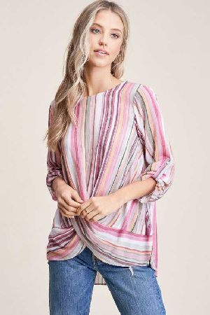 Round neck Multi Stripe Top
