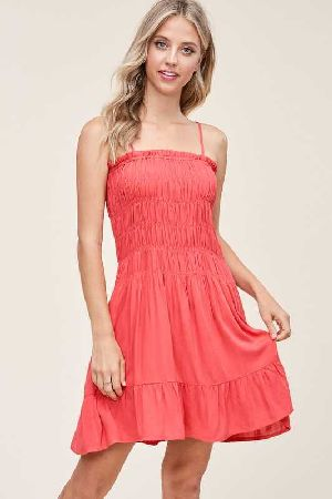 Wide Smocked Ruffle Hem Strap Dress