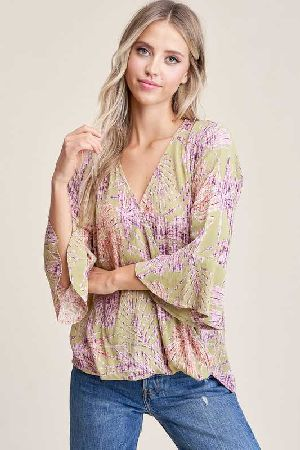 Wrap Front High Low Floral Print Blouse