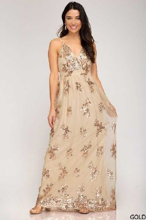 sequin lace mesh maxi dress