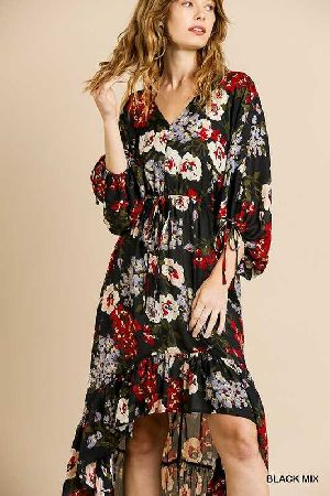 Floral Print Low Ruffle Hem Maxi Dress