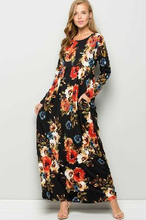 babydoll floral maxi dress with pocket