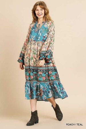 floral mixed ruffe collar ruffle maxi dress