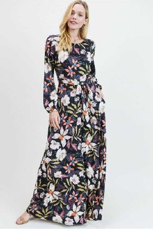 floral print sleeve maxi dress