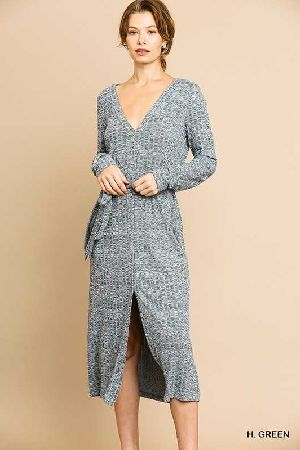 heathered ribbed knit maxi sweater dress
