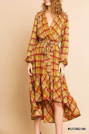 plaid print puff sleeve wrap maxi dress