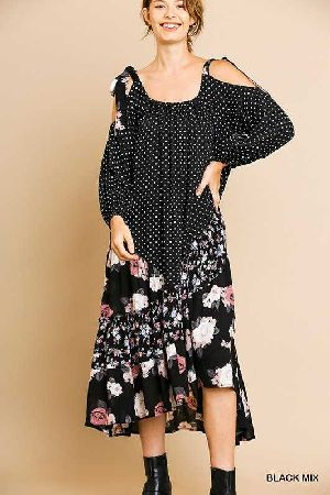 polka dot floral ruffle bottom maxi dress