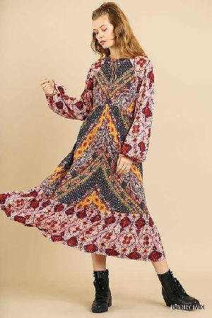 scarf mixed print puff sleeve keyhole maxi dress