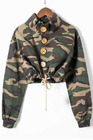 Big button camouflage cropped jacket