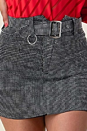 Black and white polka dot belted mini skirt