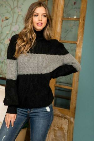 Coloblocked Bishop Sleeve Sweater