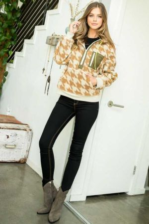 Houndstooth Half Zip Sweater