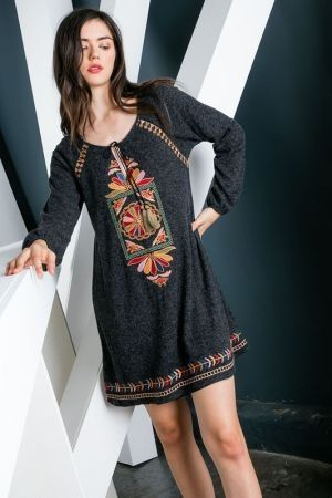 Embroidered Sweater Dress