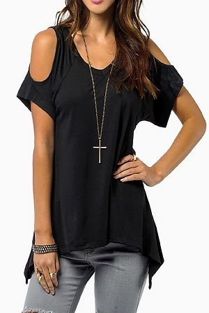 black open shoulder asymmetrical hem t shirt